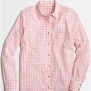 J Crew Pink Gingham Relaxed Boy Shirt Top Blouse S